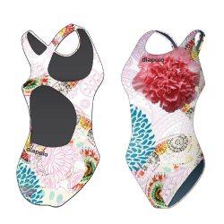 Mädchen Schwimmanzug - Colorful Flower 4 mit breiten Trägern