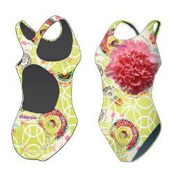 Mädchen Schwimmanzug - Colorful Flower 5 mit breiten Trägern