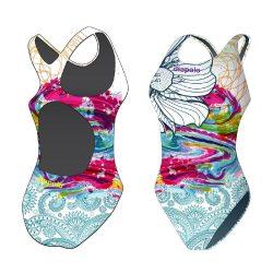 Mädchen Schwimmanzug - Colorful Flower 7 mit breiten Trägern