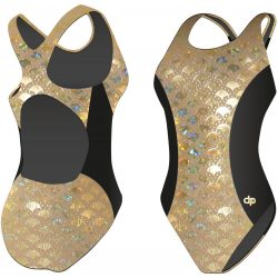 Mädchen Schwimmanzug-Golden Hollow Fish 3 mit breiten Trägern