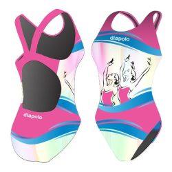 Mädchen Schwimmanzug-Synchronous 1 mit breiten Trägern