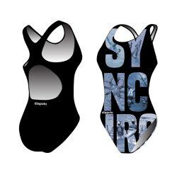 Mädchen Schwimmanzug-Sync text mit breiten Trägern
