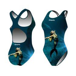 Mädchen Schwimmanzug-Sync mermaid mit breiten Trägern