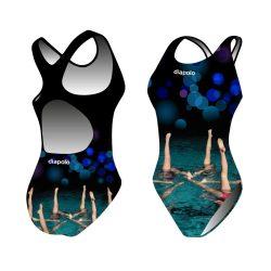 Mädchen Schwimmanzug - Sync fishtails (synchro 6) mit breiten Trägern