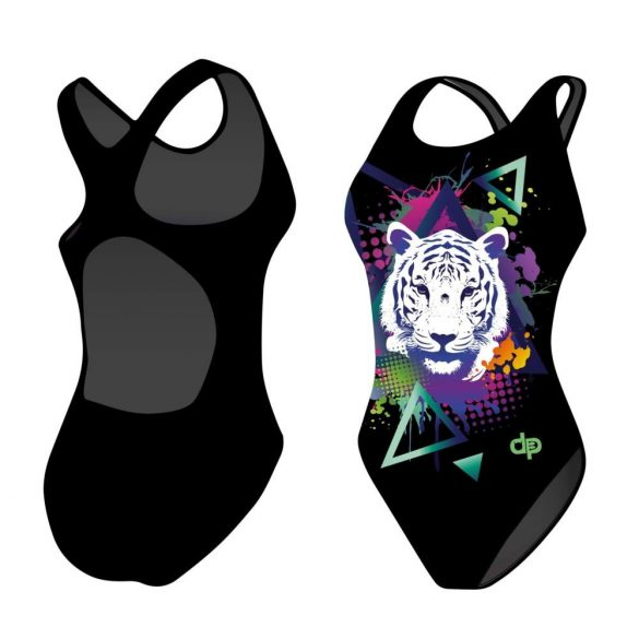 Mädchen Schwimmanzug - Tiger geometric mit breiten Trägern