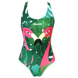 Mädchen Schwimmanzug-Flamingos mit breiten Trägern