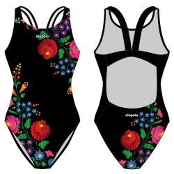 Damen Schwimmanzug-Hungarian folk 2 schwarz mit breiten Trägern
