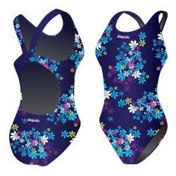 Damen Schwimmanzug - blau flowers mit breiten Trägern