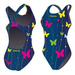 Damen Schwimmanzug-Butterfly 2 blau mit breiten Trägern
