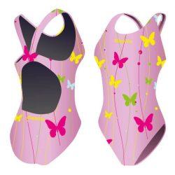 Damen Schwimmanzug - Butterfly 2 pink mit breiten Trägern