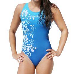 Damen Schwimmanzug-Weiss flower mit breiten Trägern