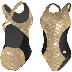 Damen Schwimmanzug-Golden Hollow Fish 1 Hololycra mit breiten Trägern