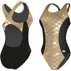 Damen Schwimmanzug-Golden Hollow Fish 2 Hololycra mit breiten Trägern