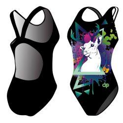 Damen Schwimmanzug - Deer geometric mit breiten Trägern