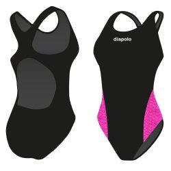 Damen Schwimmanzug-Pink Scales Hololycra mit breiten Trägern
