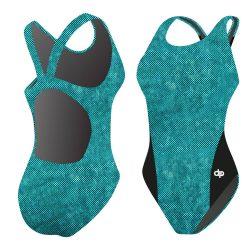 Damen Schwimmanzug - blau Dots 01 Hololycra mit breiten Trägern