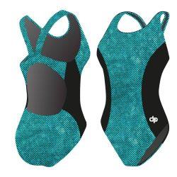 Damen Schwimmanzug - blau Dots 03 Hololycra mit breiten Trägern