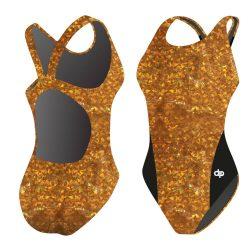 Damen Schwimmanzug - Golden Golden Flakes 02 Hololycra mit breiten Trägern