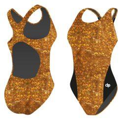 Damen Schwimmanzug-Golden Hollow Fish Hololycra mit breiten Trägern