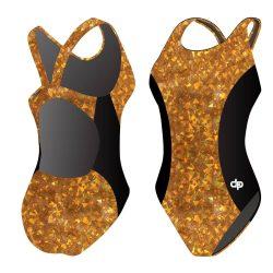 Damen Schwimmanzug - Golden Golden Flakes 03 Hololycra mit breiten Trägern