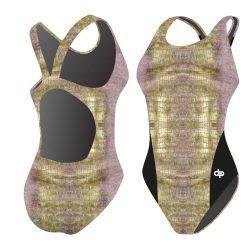 Damen Schwimmanzug - Golden Crocodile 01 Hololycra mit breiten Trägern
