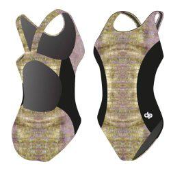 Damen Schwimmanzug - Golden Crocodile 03 Hololycra mit breiten Trägern