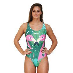 Damen Schwimmanzug-Flamingos mit breiten Trägern