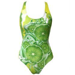 Damen Schwimmanzug - Lemon lime fruit mit breiten Trägern