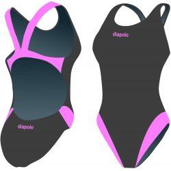 Damen Schwimmanzug-Classical grau/pink mit breiten Trägern
