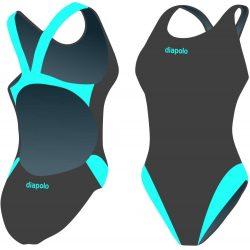Damen Schwimmanzug-Classical grau/turkisblau mit breiten Trägern