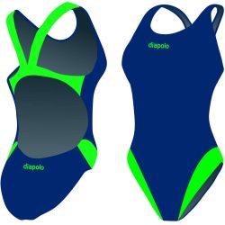 Damen Schwimmanzug-Classical navyblau/grün mit breiten Trägern