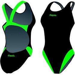 Damen Schwimmanzug - Classical schwarz-grün mit breiten Trägern
