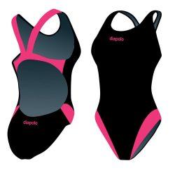 Damen Schwimmanzug-Classical schwarz/pink mit breiten Trägern