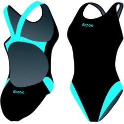 Damen Schwimmanzug-Classical schwarz/turkisblau mit breiten Trägern