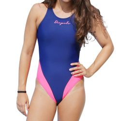 Damen Schwimmanzug - Classical navyblau-pink mit breiten Trägern