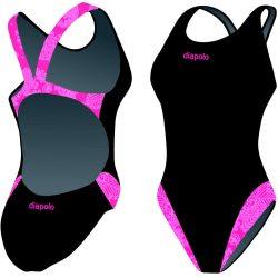 Damen Schwimmanzug-Classical Pink folk art mit breiten Trägern
