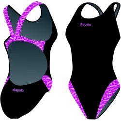 Damen Schwimmanzug-Wavy magenta mit breiten Trägern