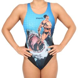 Damen Schwimmanzug - Comics Superheroes Human vs. Shark mit breiten Trägern