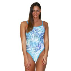 Damen Badeanzug - Leaves mit dünnen Trägernn
